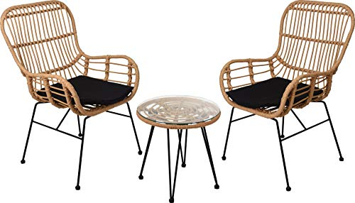 idooka Rattan Furniture Bistro Set for Patio, Garden, Conservatory - 3pc 2 PE Chairs Glass Table Hairpin Steel Legs - Comfortable Easy Care Armchair - Natural Modern Style - Weather Resistant Cushions