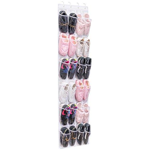MaidMAX Hangende schoenenopberger m 24 vak, schoenenopbergruimte, schoenenopbergsysteem boven de deur, ophangend schoenenrek, deuropbergers, ophangorganen voor de badkamerkeuken, multifunctionele opbergtas, ruimtebesparend, transparant