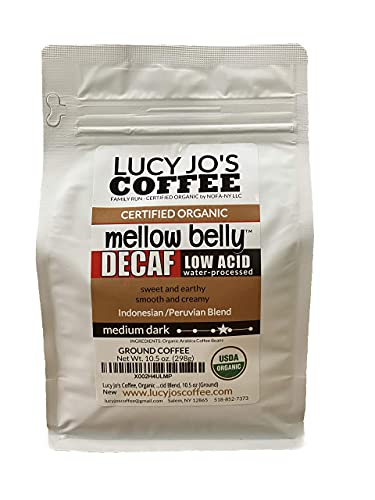 Lucy Jo's Coffee, Organic Decaf Mellow Belly Low Acid Blend, 10.5 oz (Ground)