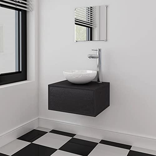 Conjunto de Muebles de baño con Lavabo y Grifo Negro 4 piezasMobiliario Conjuntos de Muebles Muebles de baño