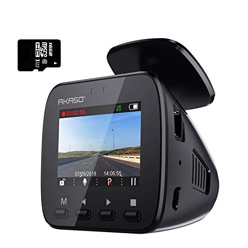 AKASO Cámara de Coche GPS WiFi Cámara para Coche Retrovisor Dash CAM 1296P FHD 170° Gran Ángulo G-Sensor Visión Nocturna WDR Grabación en Bucle Monitor de Estacionamiento Tarjeta SD