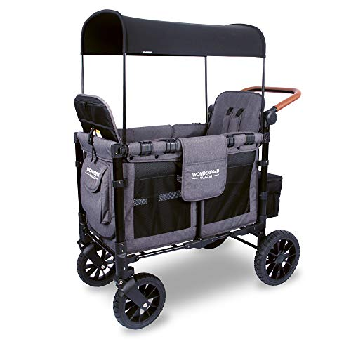 WONDERFOLD W2S 2.0 Multi-Function 2 Passenger Folding Stroller Wagon with Adjustable Canopy, Reclining Seats with Automatic Magnetic Buckles, and a Vegan Leather Covered Handle Bar (Charcoal Gray)