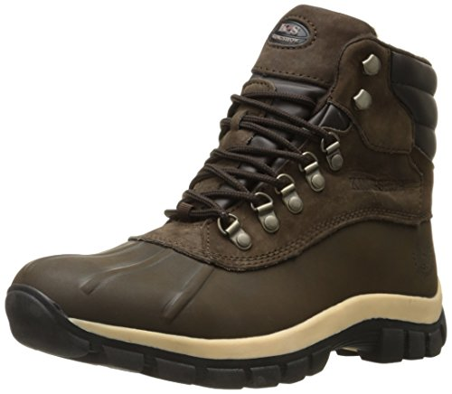 kingshow - Mens Warm Waterproof Winter Leather High Height Snow Boot, Brown 37121-10.5D(M) US