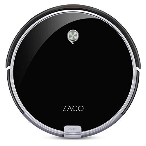 ZACO A6 Saugroboter, Lamellen-Bürste für Tierhaare, automatischer Staubsauger Roboter, Fallschutz, Raumtrennungs-Sensor, 72mm flach, bis zu 160min beutellos staubsaugen, mit Ladestation - Schwarz
