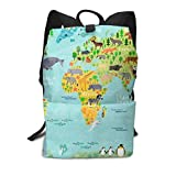 Homebe Scolaire Sac Sac à Dos Cartable for Boys and Girls,Lovely Kid Animal World Map Printed Primary Junior High School Bag Bookbag