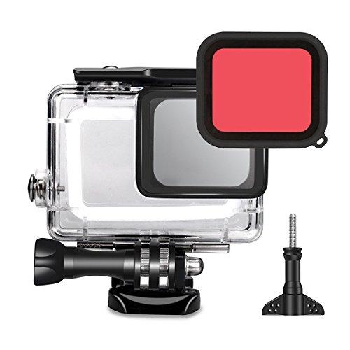 Tek 45m Unterwasser Wasserdicht Schutz Hülle Gehäuse mit Rot Filter für Gopro Hero 6/5schwarz Action Kamera