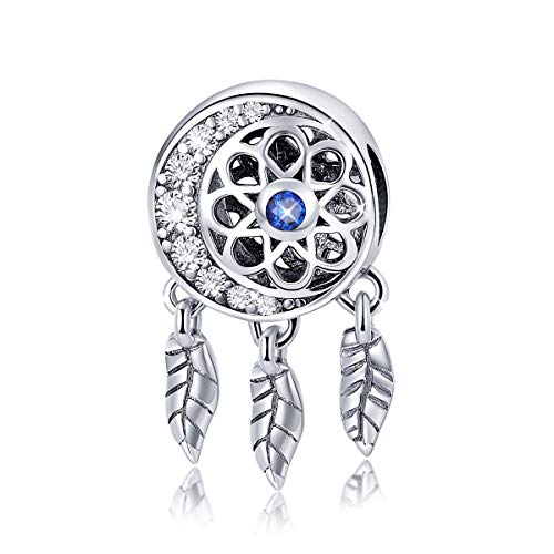 In argento sterling 925 a forma di luna acchiappasogni con perline per braccialetti collana