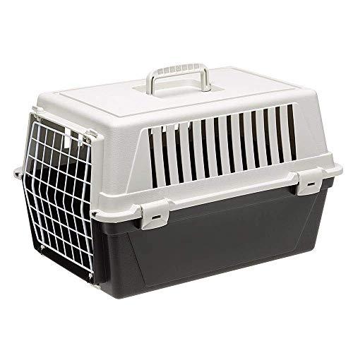 Ferplast Transportín rígido para Perros de Talla pequeña y Gatos Atlas 10 EL, Caja de Transporte, Plástico, Puerta de Acero plastificado, Rejillas de ventilación, 32,5 x 48 x h 29 cm Negro