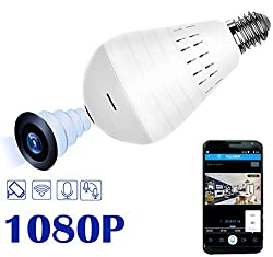 WiFi Full HD 1080P Smart Home Security Light Camera - Wireless 360 Degree Panoramic IP Camera Bulb - Remote Floodlight and Infrared Night Vision, Baby Pet Surveillance for Outdoor Home