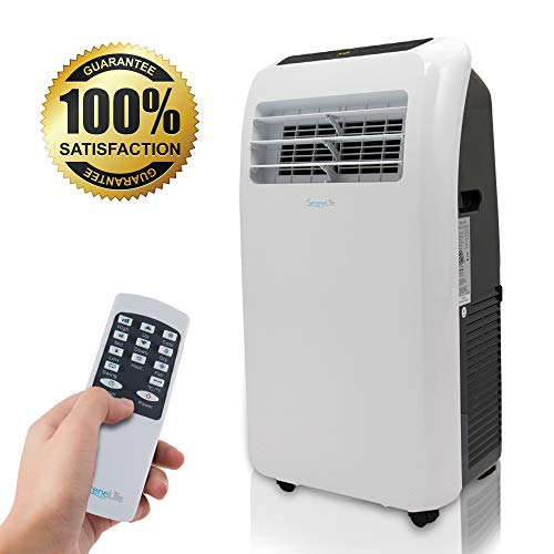 SereneLife 10,000 Portable Air Conditioner + 9000 BTU Heater, 4-in-1 AC Unit with Built-in Dehumidifier, Fan Modes, Remote Control, Complete Window Exhaust Kit for Rooms Up to 350 Sq. Ft, Heat, White