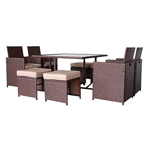 TWOC-QPD - Set di 9 tavoli da pranzo rettangolari da esterni, ideale per patio e interni, in rattan con venature del legno marrone, 9 pezzi, tavolo da pranzo e sedia, cuscino per divano kaki