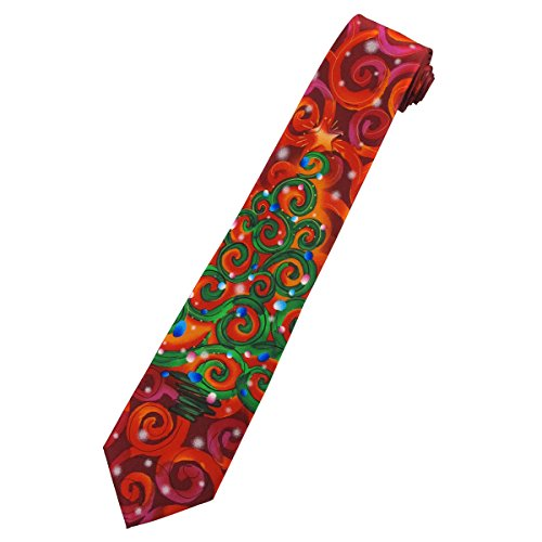 Jerry Garcia Men's Snail Garden Neck Tie - Merry Christmas Abstract Swirl Tree with Star