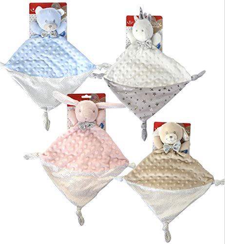 KIDDI-MEDIA Baby Kuscheltuch mit Name Bestickt (kein Druck) / wunderschöne 3D Motive zur Auswahl - ideal als Schnuffeltuch und Trösterchen (Hellblau/Weiss - BÄR)
