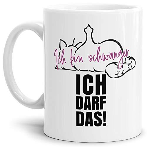 Lustige Tasse mit Katze und Spruch - Ich Bin schwanger, ich darf das! - Kaffeetasse/Werdende Mutter/Schwangerschaft/Geschenk Freundin - Weiß
