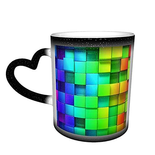 maichengxuan Taza de café a cuadros geométricos del arco iris taza de café divertido cambio de color taza de cerámica sensible al calor