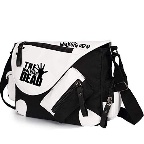 Augyuess Casual Messenger Bag Tote Bag Umhängetasche Umhängetasche für The Walking Dead Cosplay, Schwarz - schwarz 1 - Größe: Small