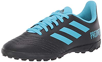 adidas Unisex-Kid's Predator 19.4 Turf Soccer Shoe, Black/Bright Cyan/Solar Yellow, 5 M US Big Kid