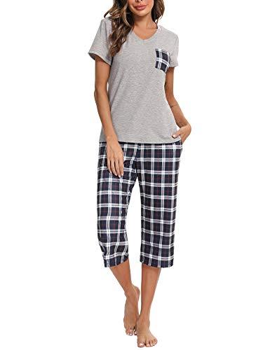 iClosam Pijama Cuadros Mujer Verano Pijamas Cortos Algodon Ropa de Dormir Casa Casual Suave y Comodo (L,Negro)