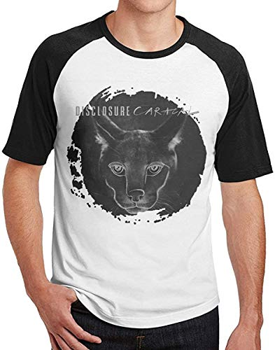 Disclosure Caracal Baseball T-Shirt for Men Graphic Vintage Short Sleeve Blouse Tops,Black,Small