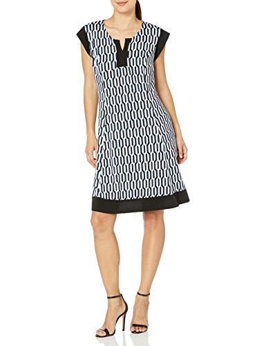 Notations Women's Petite Printed Cap Sleeve Slit Neck Dress, Blink, PS