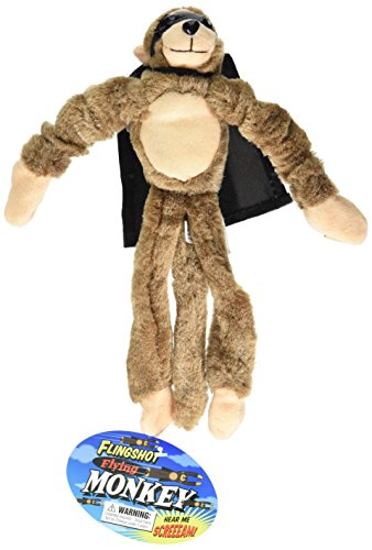 Playmaker Toys Flingshot Slingshot Flying Screaming Monkey, Brown