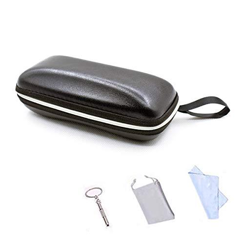 LRZCGB Eyeglass Case, Portable Travel Zipper Artificial Leather Glasses Case Box Protector for Men & Women or Children (Black)