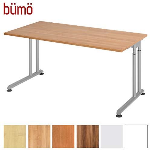 bümö® Stabiler Schreibtisch höhenverstellbar 160 x 80 cm | Bürotisch Platte: Nussbaum - Gestell: Silber | Büroschreibtisch mit Höheneinstellung | Tisch für's Büro