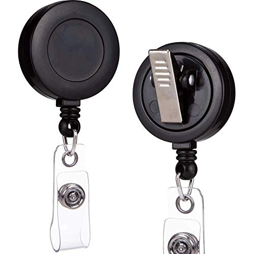 QREEL - 2 Pack - Retractable ID Name Badge Holder Reels with Swivel Alligator Clip (Black)