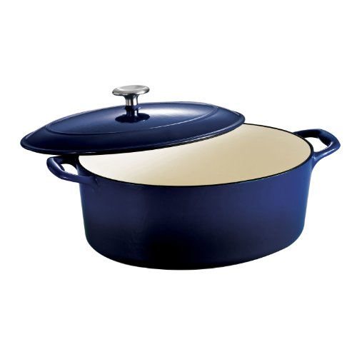 Tramontina 80131/078DS Gourmet Enameled Cast Iron Covered Oval Dutch Oven, 7-Quart, Gradated Cobalt