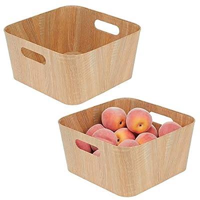mDesign Wood Grain Kitchen Food Storage Bin with Handles - Natural by
