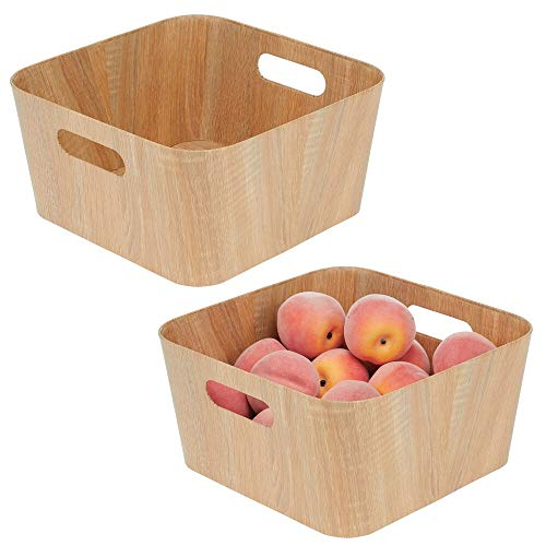 "mDesign Food Storage Container Bin with Handles - for Kitchen, Pantry, Cabinet, Fridge/Freezer - Narrow for Snacks, Produce, Vegetables, Pasta - Food Safe - 12"" Long - Natural Wood Print"