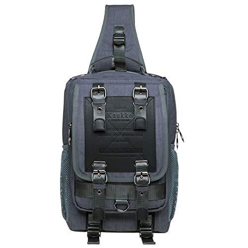 KAUKKO Canvas Messenger Bag Cross Body Shoulder Sling Backpack Travel Hiking Chest Bag (252-1-Blackgrey)