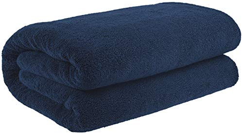 40x80 Inches Jumbo Size, Thick & Large 650 GSM Genuine Ringspun Cotton Bath Sheet, Luxury Hotel & Spa Quality, Absorbent & Soft Decorative Kitchen & Bathroom Turkish Towels, Navy Blue