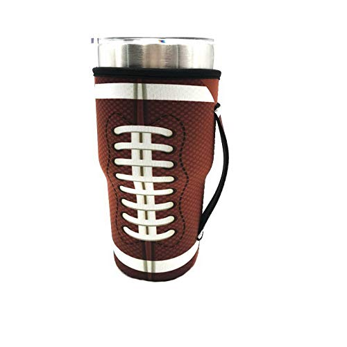 Reusable Iced Coffee Cup Sleeve Neoprene Insulated Sleeves Cup Cover Holder Idea for 30oz-32oz Tumbler Cup,Trenta Starbucks,Large Dunkin Donuts (Only Cup sleeves) (Football)