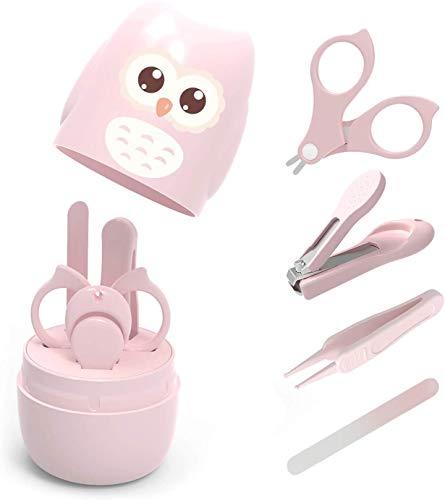 VOARGE Set de cuidado de uñas para recién nacidos, cuidado del bebé, juego de manicura con cortaúñas de bebé, tijeras, pinzas y lima de uñas, paquete de regalo de búho (rosa)