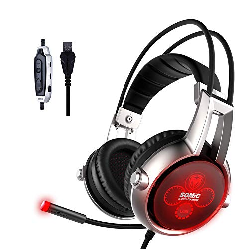 Jumor Gaming Headset Für PS4 PC Xbox One, Over-Ear Gaming Kopfhörer Mit 5.2 Surround Sound Und Rauschunterdrückung Mikrofon, Buntes RGB-Licht, Für Laptop Mac Tablet
