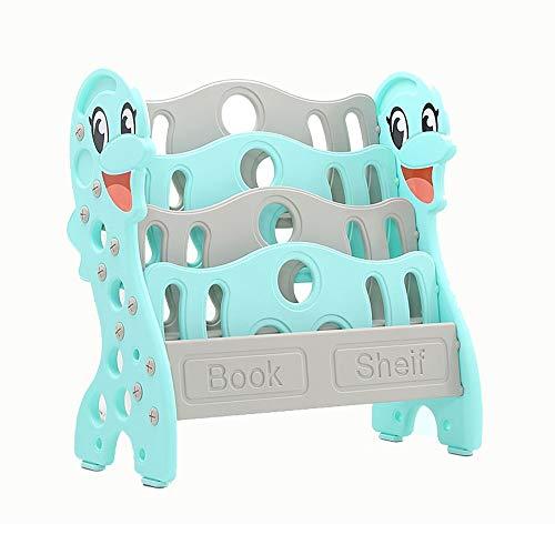 Estantería de 4 niveles para niños, organizador de juguetes, para sala de juegos, para sala de estar, estrecho, dormitorio, oficina (color: azul, tamaño: 65 x 31 x 70 cm)