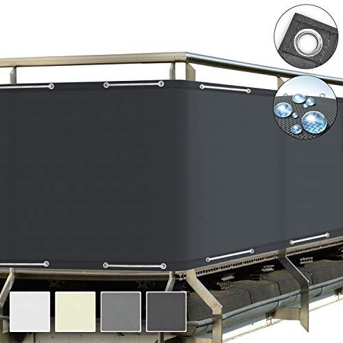 Sol Royal SolVision Brise Vue pour Balcon PB2 PES en Polyester 500x90 cm Anthracite avec Oeillets et Cordons
