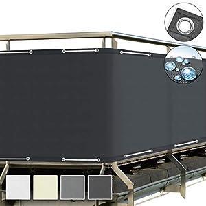 Sol Royal Protección Visual SolVision PB2 PES Pantalla Opaca 500x90 cm Antracita balcón privacidad con Ojales Cuerdas