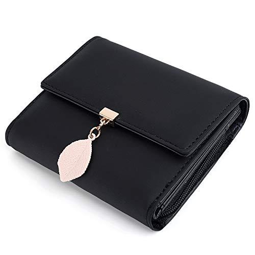 UTO Damen Geldbörse mit Blatt Anhänger PU Leder Kleine Brieftasche 5 Kartensteckplätze 1 ID Fenster Kartenhalter Organizer Mädchen Schwarz