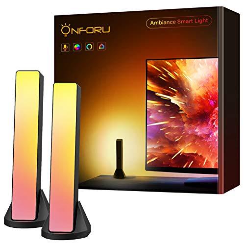 Onforu 2er Smart RGB Ambiance Play Lightbar, 6W Intelligente bunt Wifi Stimmungslichter, Atmosphärenlichtleiste mit Warmweiß und Kaltweiß, Kompatibel mit Alexa, Echo, Google, Assistant