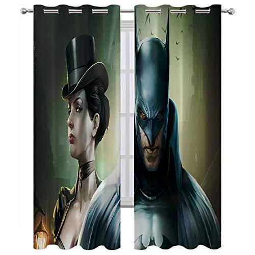 SSKJTC - Cortinas para puerta corredera de cristal negro Batman oscuro noche belleza debajo de la lámpara cortinas opacas para habitación de niños W84 x L84