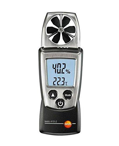 Testo 0560 4102 410-2 Anémomètre à hélice en format de poche avec mesure d'humidité intégrée et thermomètre CTN pour la mesure de la température de l'air, livré avec capuchon de protection, piles et protocole d'étalonnage