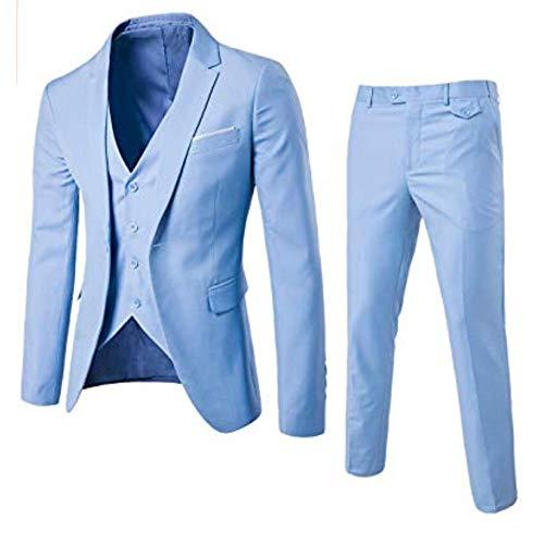 yssgtt Traje para hombre de 3 piezas, chaleco blazer, pantalón con un botón, ajustado, traje de boda de negocios, monocolor azul claro S
