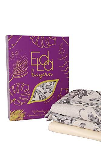 Elda Bayern, biancheria da letto in raso, di alta qualità, 5 pezzi, set da 2 copripiumini da 135 x 200 cm, 2 federe da 80 x 80 cm, 1 lenzuolo da 160 x 200 x 25 cm, in raso 100% cotone, Heidi Duo