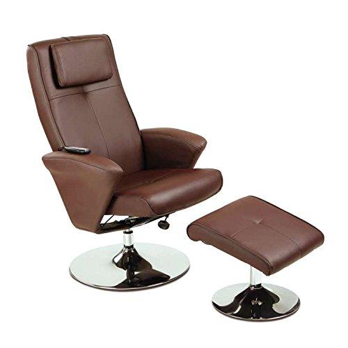maxVitalis Relaxsessel mit Massagefunktion, Fernsehsessel & Hocker mit Vibrations-Massage, Massagesessel mit Wärmefunktion, Liegefunktion, Drehbar, Massagestuhl, elektrisch, TV Stuhl (Braun)
