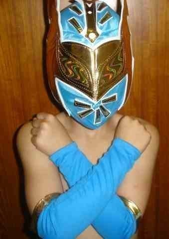 SIN CARA BLUE FANCY DRESS UP COSTUME OUTFIT SUIT GEAR WRESTLEMANIA HALLOWEEN MASK SLEEVES STYLE WWE WRESTLING by SOPHZZZZ TOY SHOP