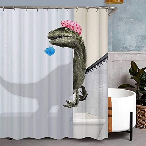 Perfit Duschvorhang Dinosauriermuster 180x180cm mit 12 Duschvorhängeringen , Anti-Schimmel Wasserdicht Waschbar Duschvorhang