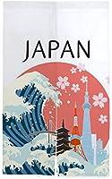 TINZZEROS のれん おしゃれ 東京都 薄すぎず 結婚祝い 視線を遮る 学校 和室でも 漫画 風景画 バスルーム目隠し 風景 突っ張り棒付き 幅85㎝×丈90㎝