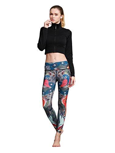 MUMUWU Women Yoga Pants High Waist Sport Workout Running Power Flex Yoga Leggings Printed Peacock M